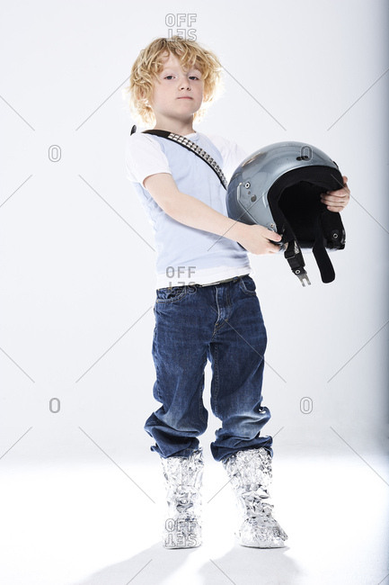 Portrait of a boy dressed up as spaceman