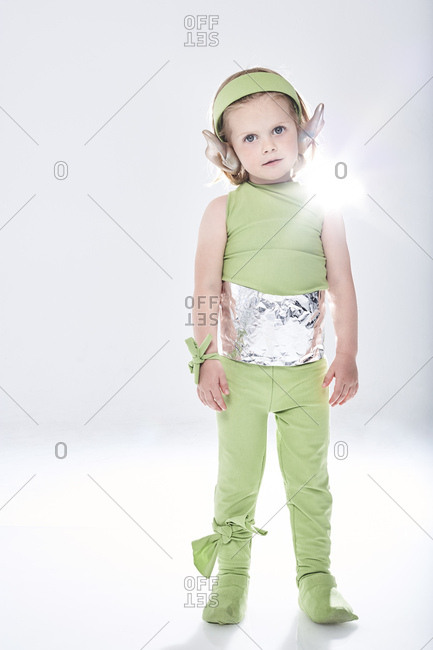 Portrait of a girl dressed up as alien