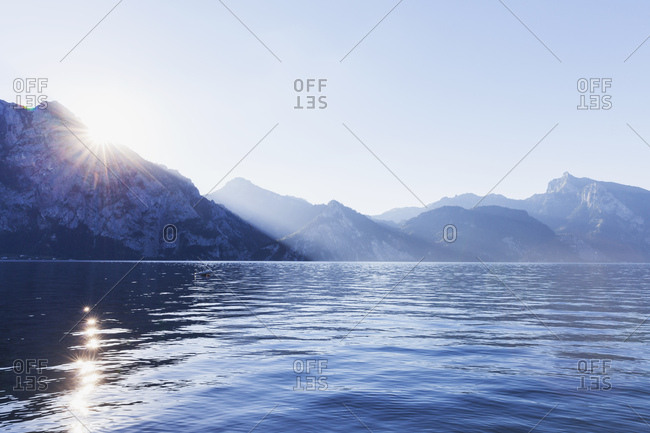 Austria- Upper Austria- Salzkammergut- sunset at Lake Traunsee