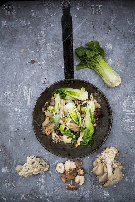 Stir-fry with Chinese cabbage- maitake- oyster and shitake mushrooms in pan