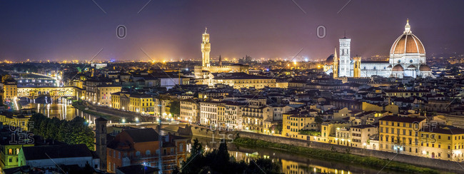 Italy- Tuscany- Florence- cityscape at night seen from Piazzale Michelangelo
