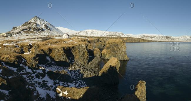 Iceland- Panoramic view of Arnarstapi cliffs
