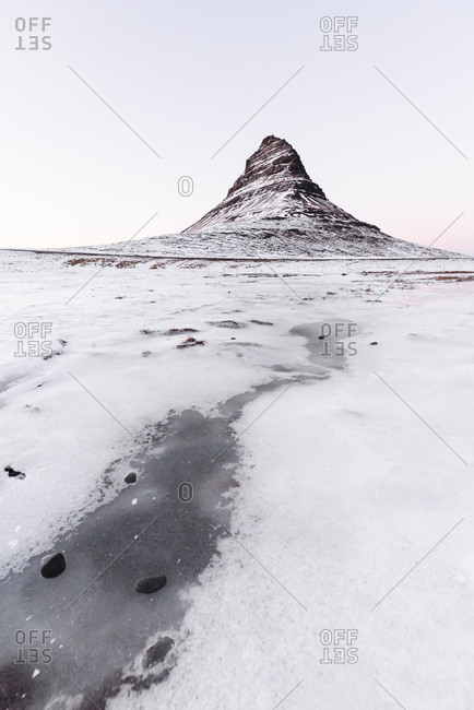 Iceland- Kirkjufell mountain in white
