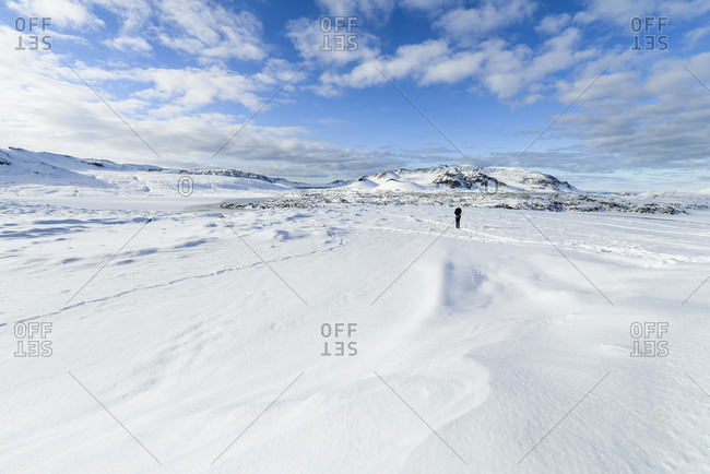 Iceland- person in snowy landscape