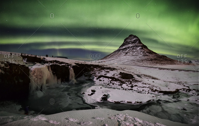 Iceland- frozen Kirkjufell and northern lights