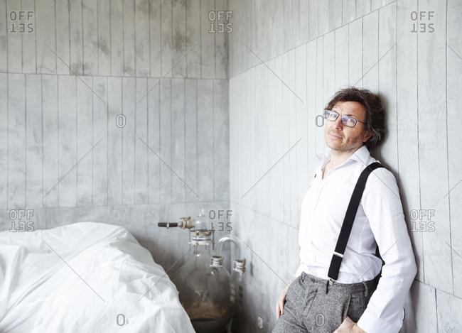 Portrait of content architect at construction site