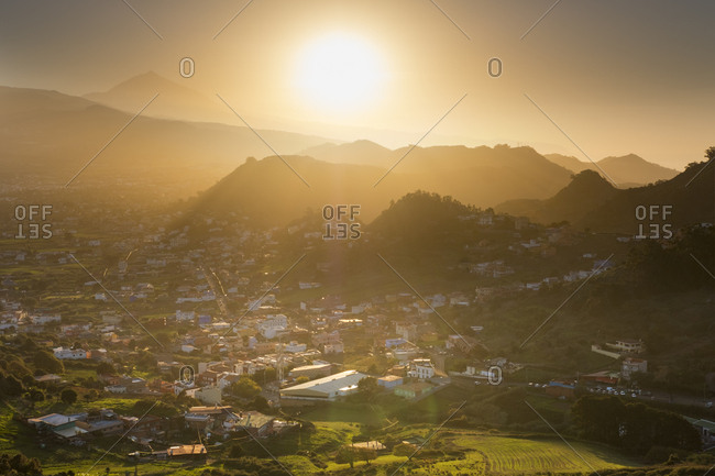 Spain- Canary islands- Tenerife- Anaga mountains- Las Mercedes near San Cristobal de La Laguna as seen from Mirador de Jardina at sunset