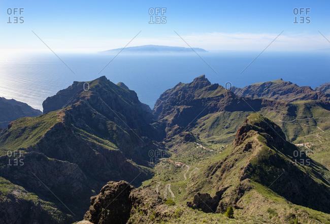 Spain- Canary islands- Tenerife- Teno mountains- Masca and Barranco de Masca as seen from Pico Verde