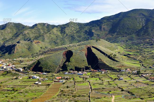Spain- Canary islands- Tenerife- Teno mountains- Montana del Palmar- ragged landscape by lava rock mining