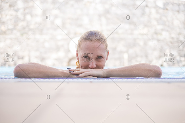 Portrait of woman in swimming pool