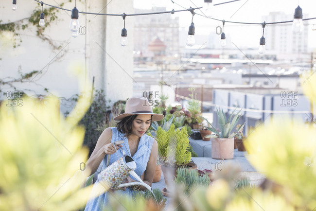 Woman watering her rooftop garden