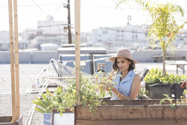 Woman watering her rooftop garden