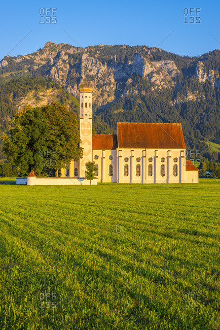 Germany- Schwangau- pilgrimage church St. Coloman- mountain Saeuling in background