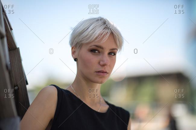 Portrait of woman in city