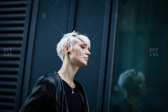 Young adult walking in urban city