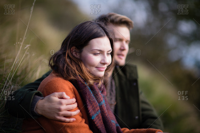 Couple enjoying autumn outdoors in nature