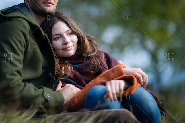Couple enjoying autumn outdoors in nature