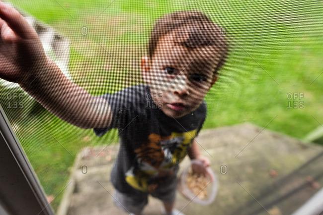 Boy reaching to open a sliding screen door