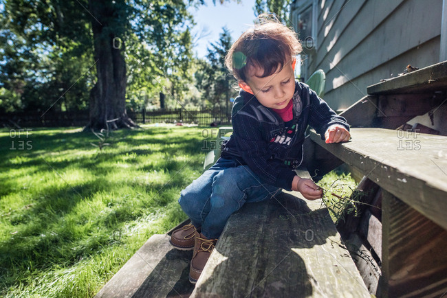 Boy playing with a piece of grass while sitting on porch steps