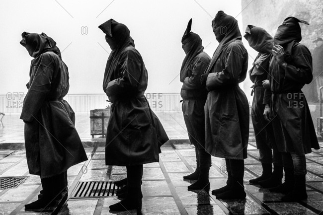 Hooded participants in Holy Week procession in Sicily