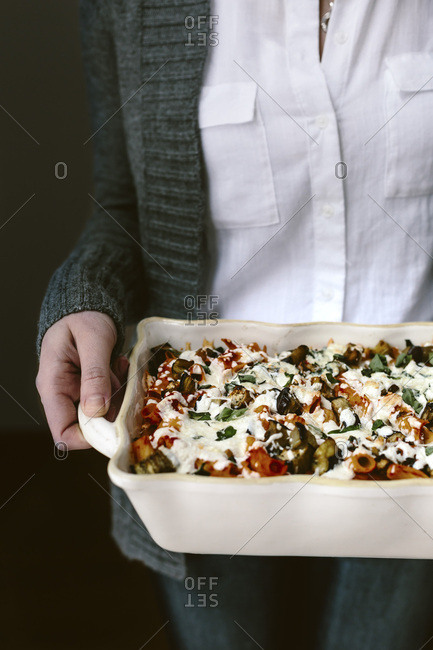 Baked ziti with eggplant and basil
