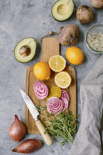 Ingredients for spring abundance bowl