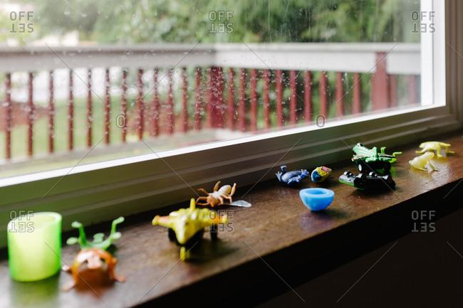 Toys on window sill