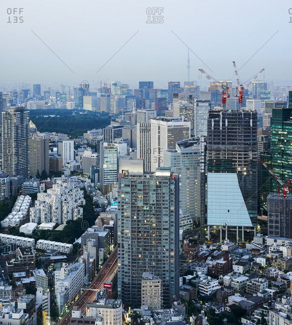 Tokyo, Japan - July 10, 2015: View of Shiba-koen business district from the observation deck of Mori Tower