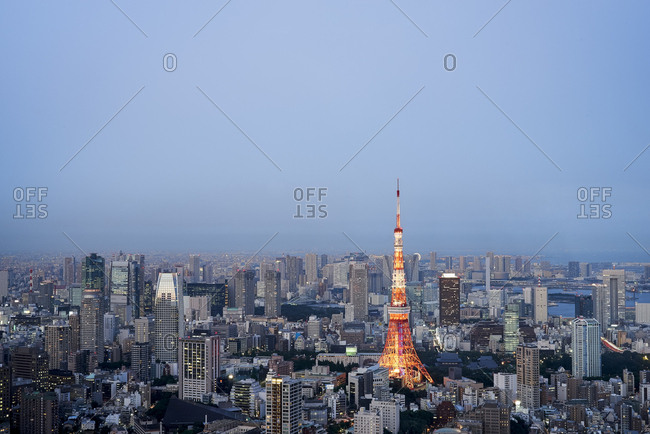 Tokyo, Japan - July 10, 2015: View of Tokyo Tower from the observation deck of Mori Tower