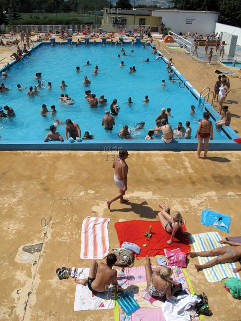 July 26, 2013 - Prague, Czech Republic: Many people swimming in public pool