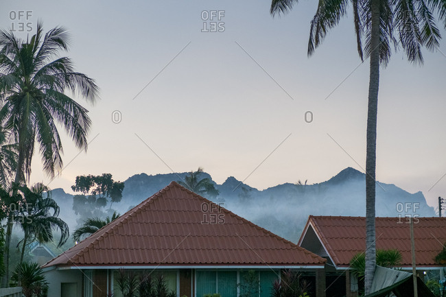 Morning fog hangs over the rooftops of Sam Roi Yot Thailand