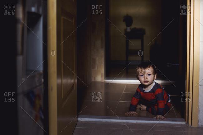 Baby boy in doorway