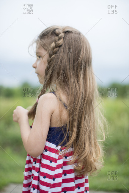 Girl in American flag dress