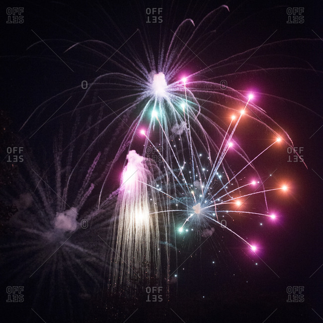 Fireworks display in a night sky