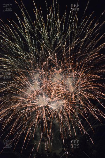 Sparkling fireworks display in night sky