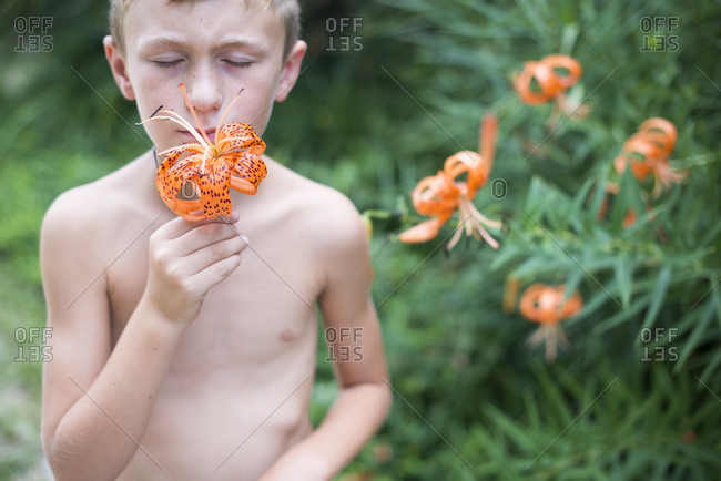 Boy smelling tiger lily flower