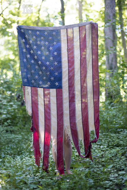 Tattered American flag hanging outside