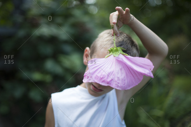 Boy behind a hibiscus flower