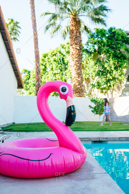 Pink flamingo float next to swimming pool