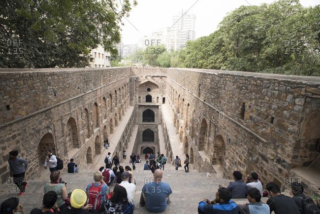 New Delhi, India - March 7, 2017: Agrasen ki Baoli, the historical step well in New Delhi, India