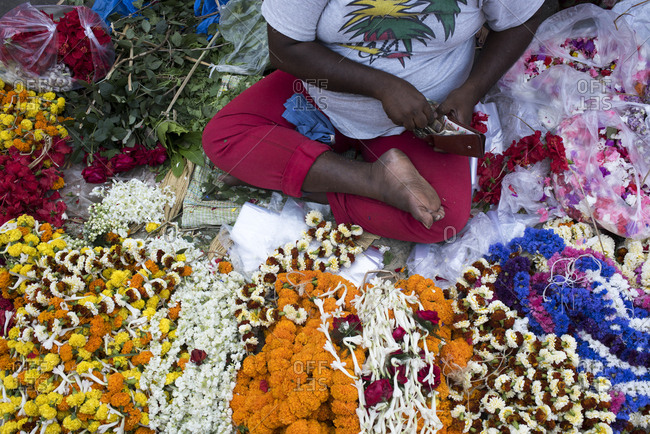 Kolkata, India - March 12, 2017: Flower vendor in Kolkata, India