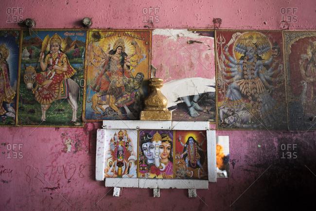 Kolkata, India - March 13, 2017: Posters of Hindu Goddesses in Kolkata, India