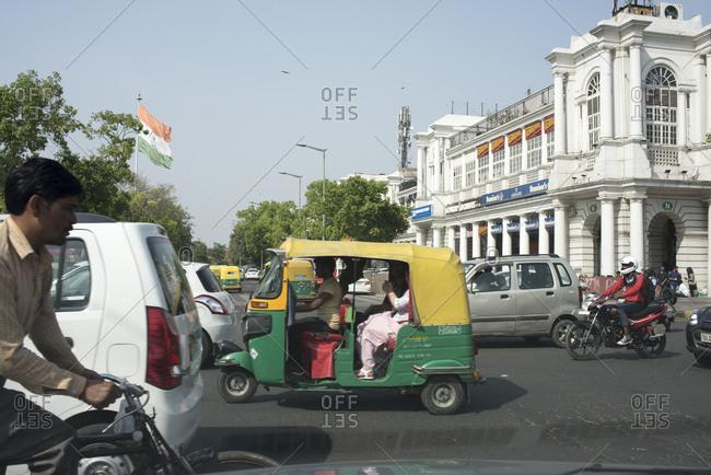 New Delhi, India - March 20, 2017: Street scenes in Connaught Place, Delhi, India