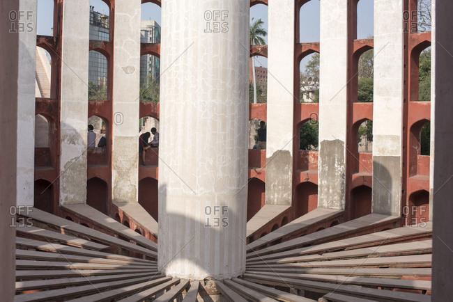New Delhi, India - March 20, 2017: Inside view of Rama Yantra, Jantar Mantar in Delhi, India