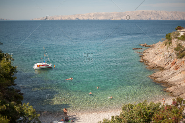 Krk Island, Croatia - July 22, 2015: Boat off the coast of Krk Island, Croatia