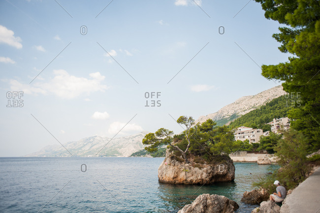 Rock formation on the coast of Makarska, Croatia