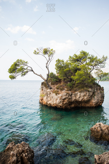 Rock formation in the Adriatic Sea off the coast of Makarska, Croatia