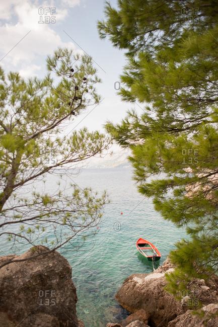 Boat moored on the coast of Makarska, Croatia