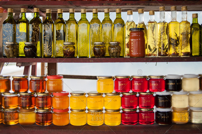 Oils on a stand at a roadside market in Ston, Croatia