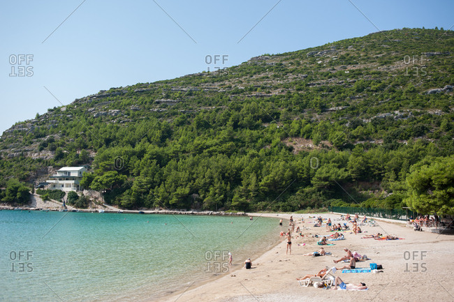Peljesac Peninsula, Croatia - July 22, 2015: Beach on the coast of Peljesac Peninsula, Croatia
